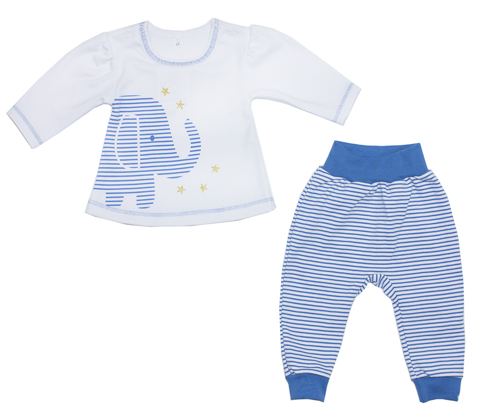 Комплект одежды для мальчика Осьминожка кофта и брюки Слоник в звездах р.74