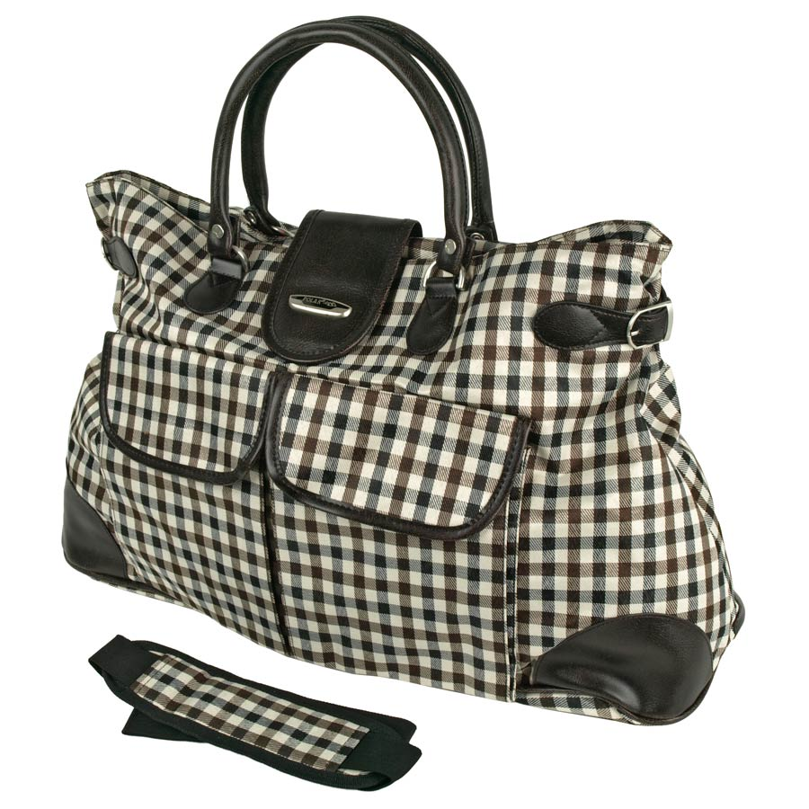 Дорожная сумка Polar 6089д черная/коричневая/синяя в клетку 61 x 35 x 18