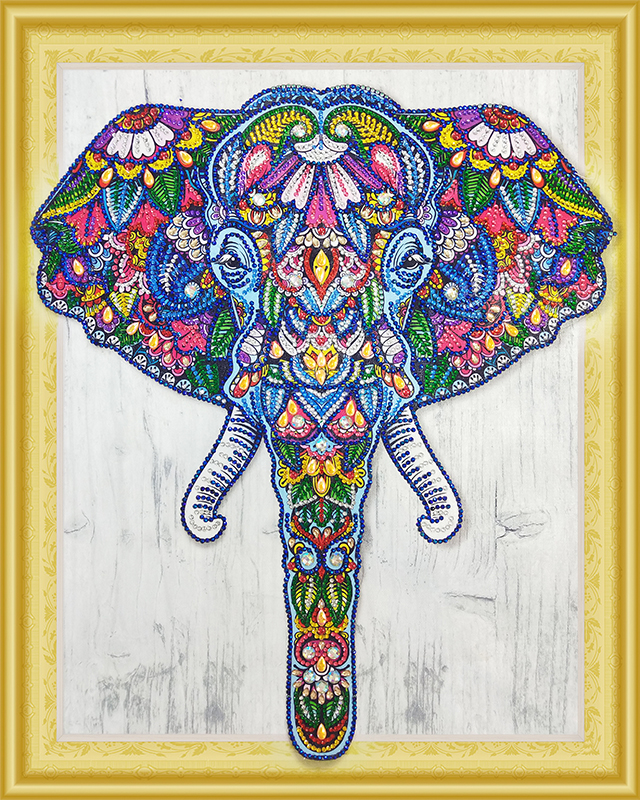 Индийский слон- алмазная картина с фигурными стразами