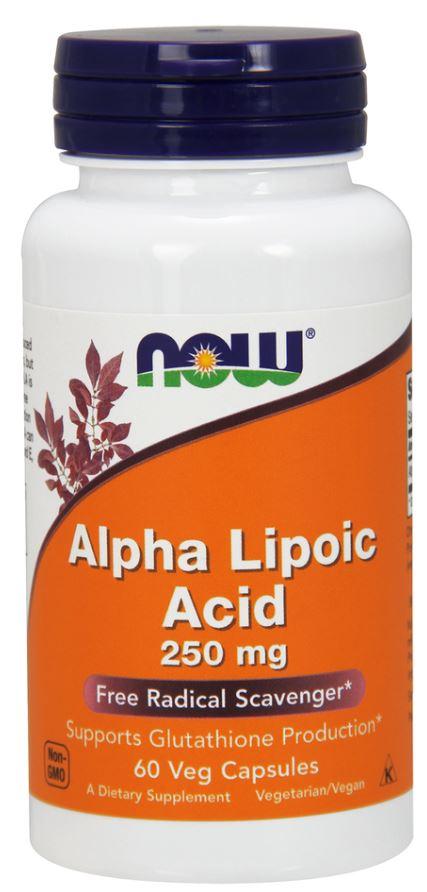Купить Альфа-липоевая кислота, 250 мг, 60 вегетарианских капсул, NOW