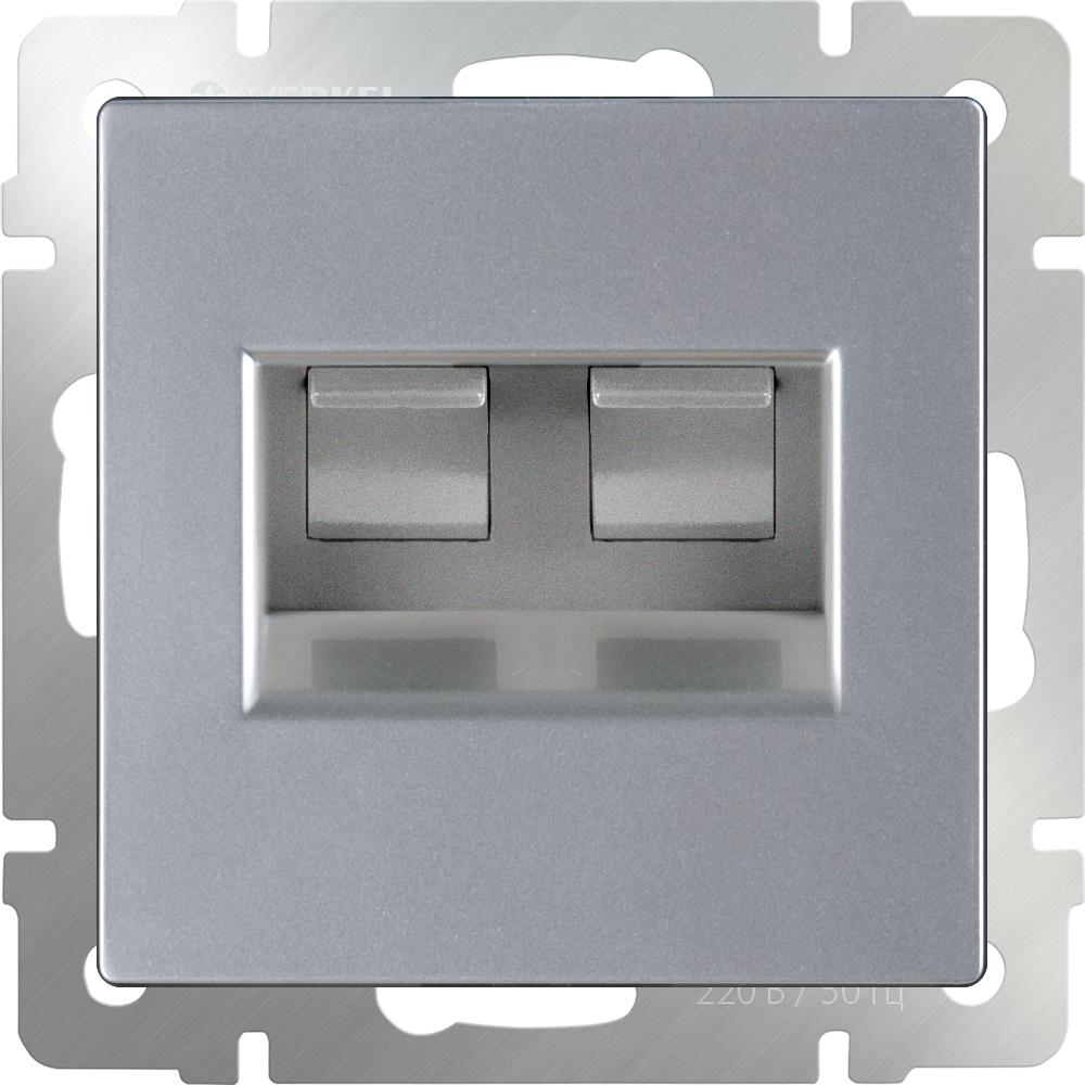 Компьютерная розетка Werkel Ethernet RJ-45 WL06-RJ45+RJ45 a033760 серебряный