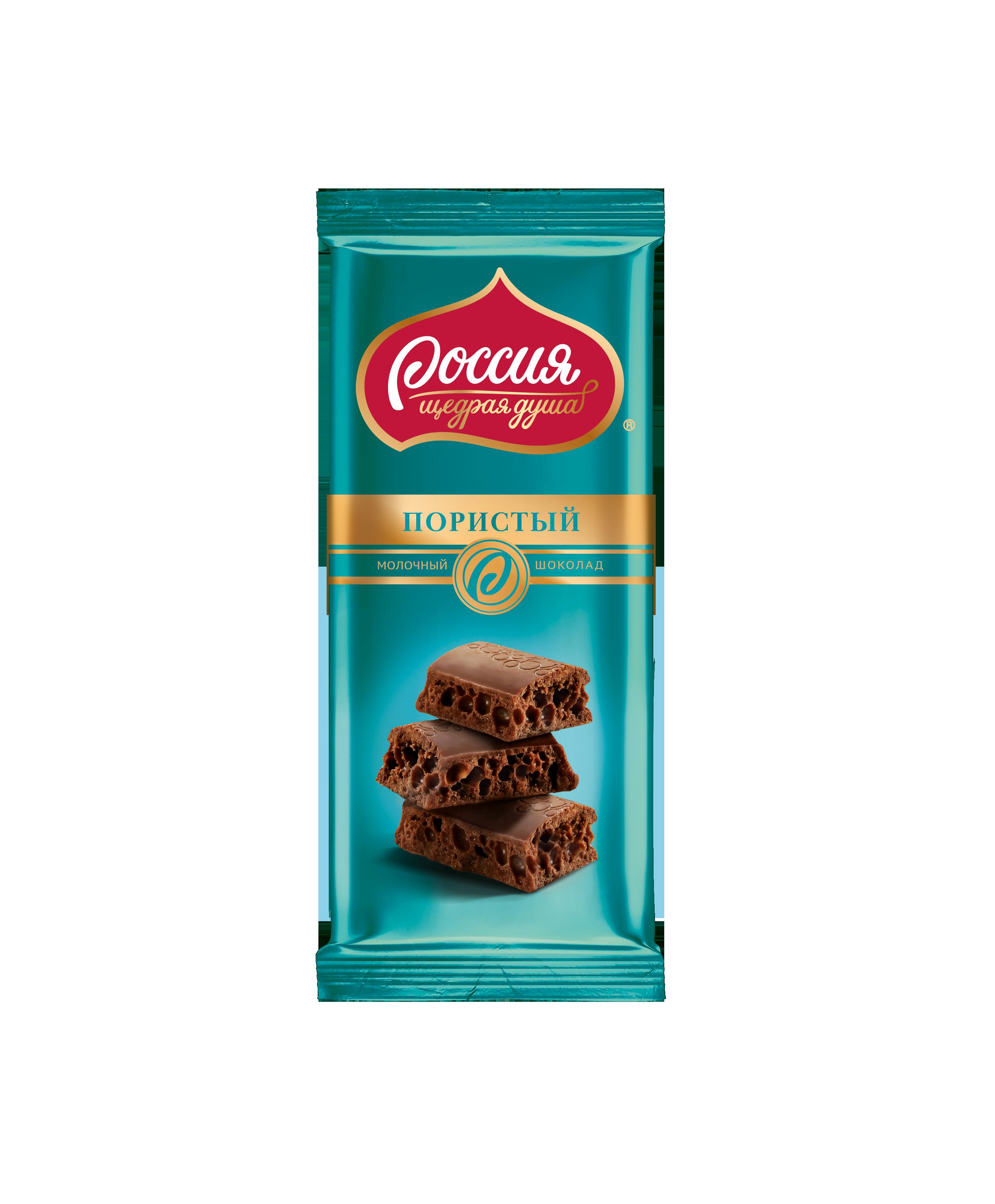 Шоколад Россия молочный пористый 82 г
