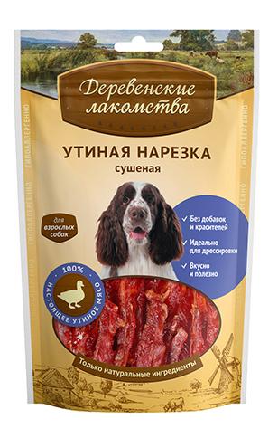 Лакомство для собак Деревенские лакомства Утиная нарезка сушеная, 90г