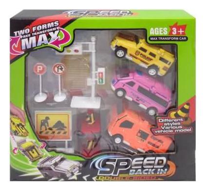 Купить Набор машинок-трансорфмеров, Набор пластиковых машинок Junfa Toys 158A-1, Игрушечные машинки