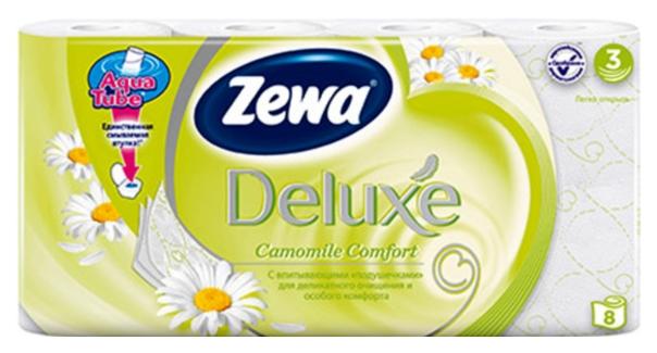 Туалетная бумага Zewa Deluxe Ромашка, 3 слоя, 8 рулонов