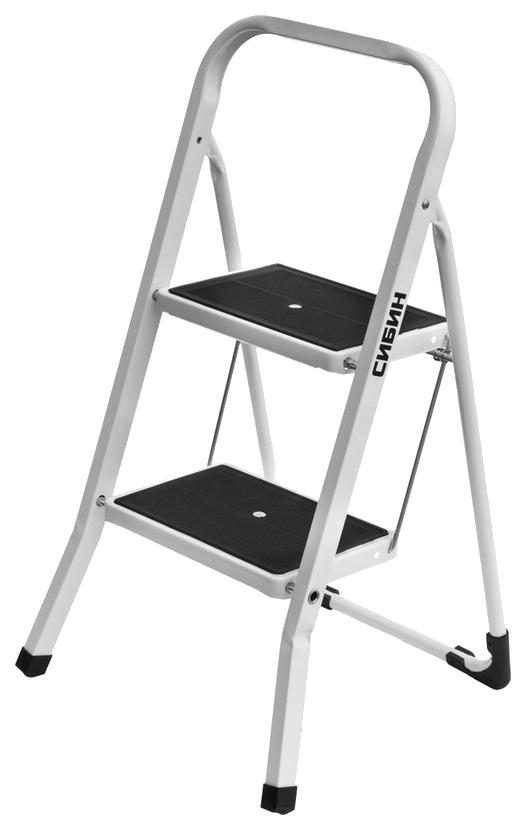 Лестница-стремянка СИБИН стальная c широкими ступенями, 2 ступени фото