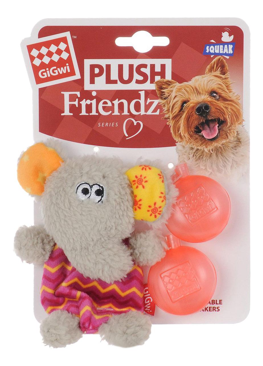 Мягкая игрушка для собак GiGwi Слон с пищалкой, длина 13 см фото