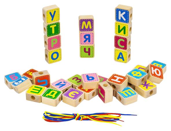 Купить Конструктор деревянный Alatoys Шнуровка азбука 33 детали, Алатойс,