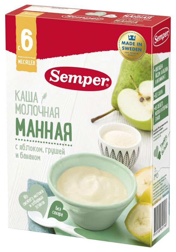 Купить Манная с яблоком, грушей и бананом 200 г, Молочная каша Semper Манная с яблоком, грушей и бананом с 6 мес 200 г, Детские каши