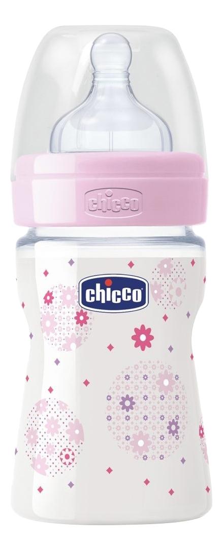 Детская бутылочка Chicco Well Being Girl силиконовая соска 150 мл фото