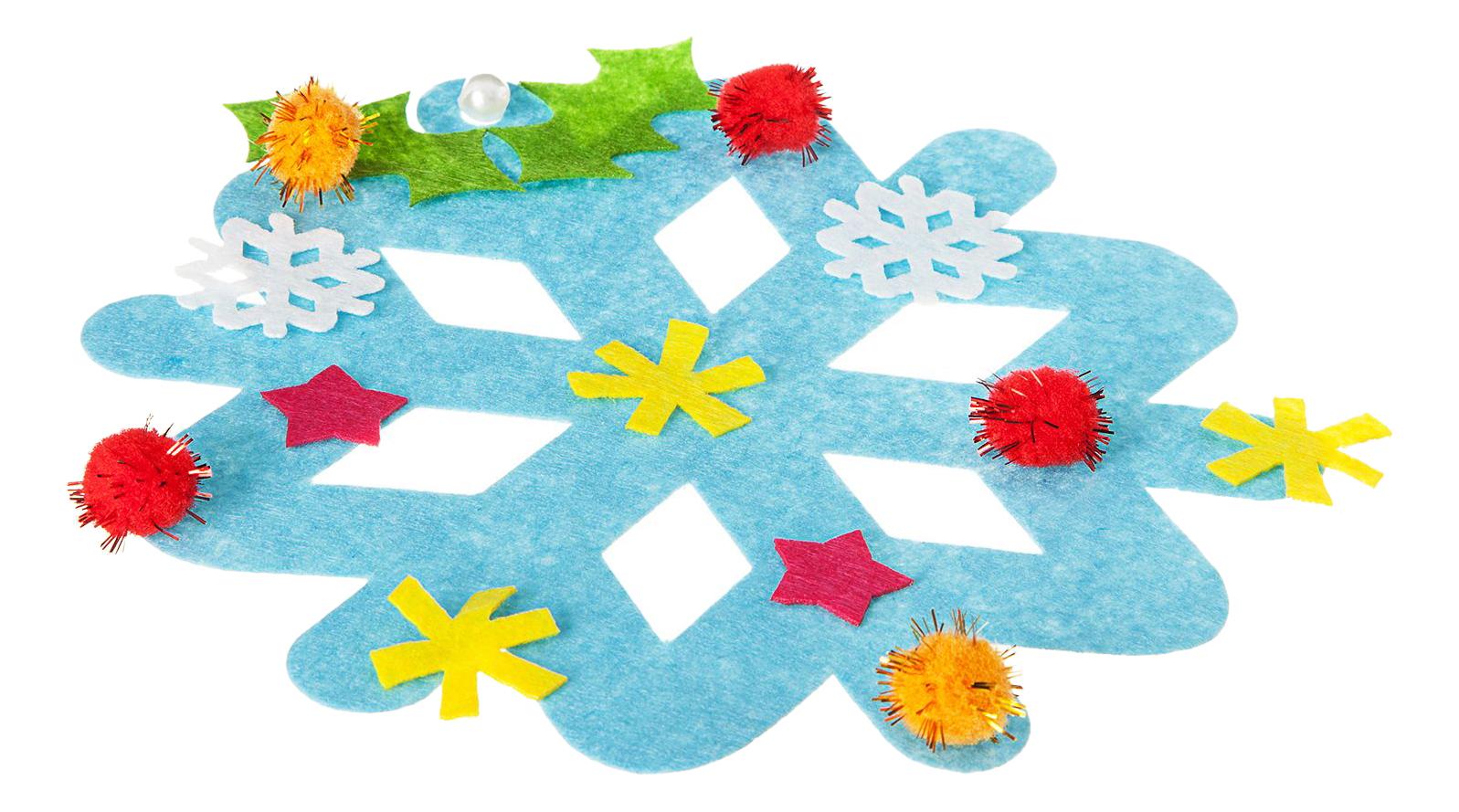 Купить Новогодние украшения Снежинки, Набор для творчества Ёлочные украшения Снежинки 5+ Bondibon BB1876, Рукоделие