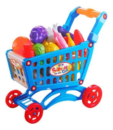 Купить Shopping cart тележка с овощами Д40001, Игровой набор Shopping Cart тТележка с овощами Shenzhen Toys Д40001, Детские тележки для супермаркета