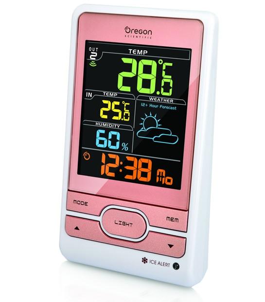 Метеостанция Oregon Scientific BAR206S-r (с термометром, цветной дисплей, розовый) фото