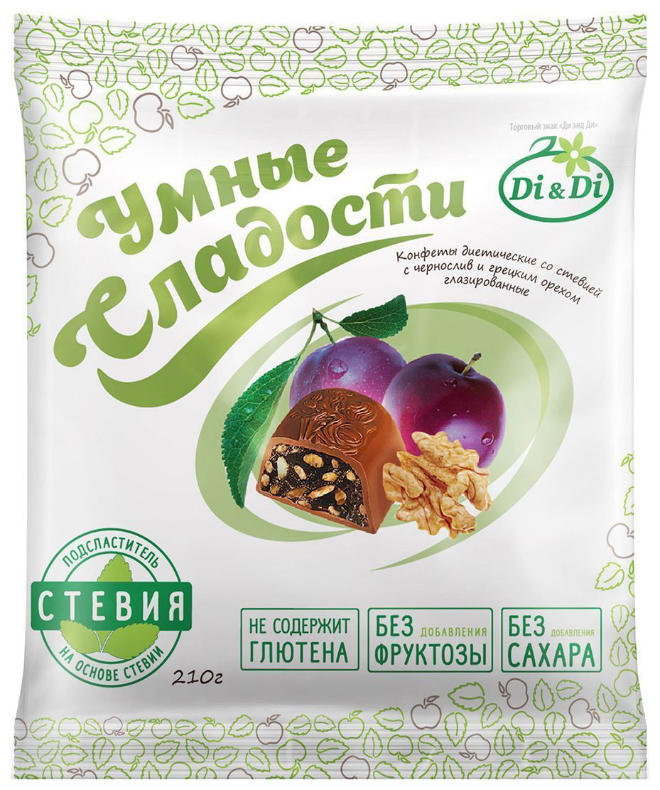 Конфеты со стевией Умные сладости с черносливом и грецким орехом глазированные 210 г