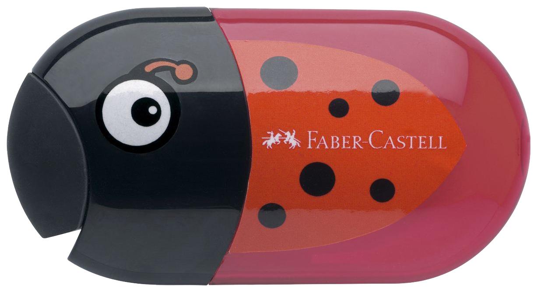 Купить Точилка с двумя отверстиями Божья коровка, Точилка Faber-Castell с контейнером и ластиком, с двумя отверстиями Божья коровка,