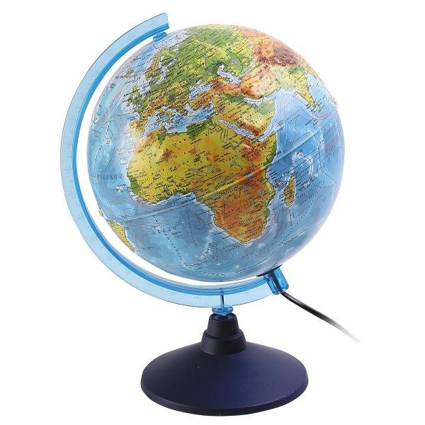 Глобус Земли физико-политический рельефный с подсветкой, D-250 мм