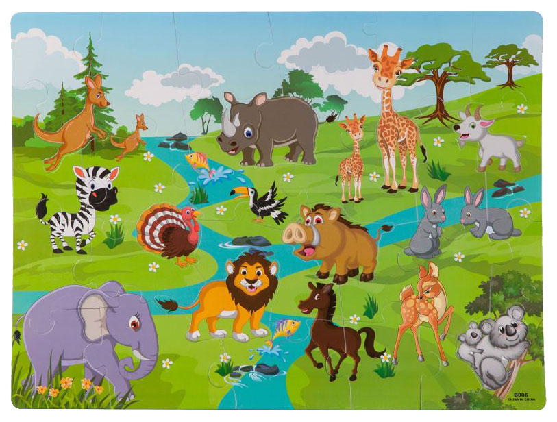 Bondibon Пазл коврик дикие животные с фигурками вкладышами Bondibon ВВ2822 фото