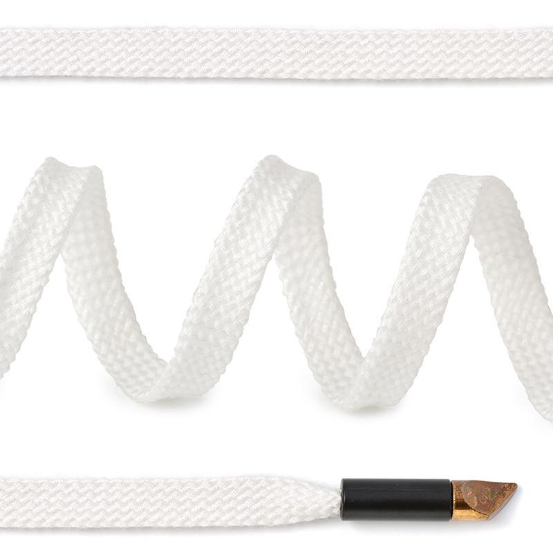Шнурки для обуви TBY плоские 8 мм 130 см белые 50 штук