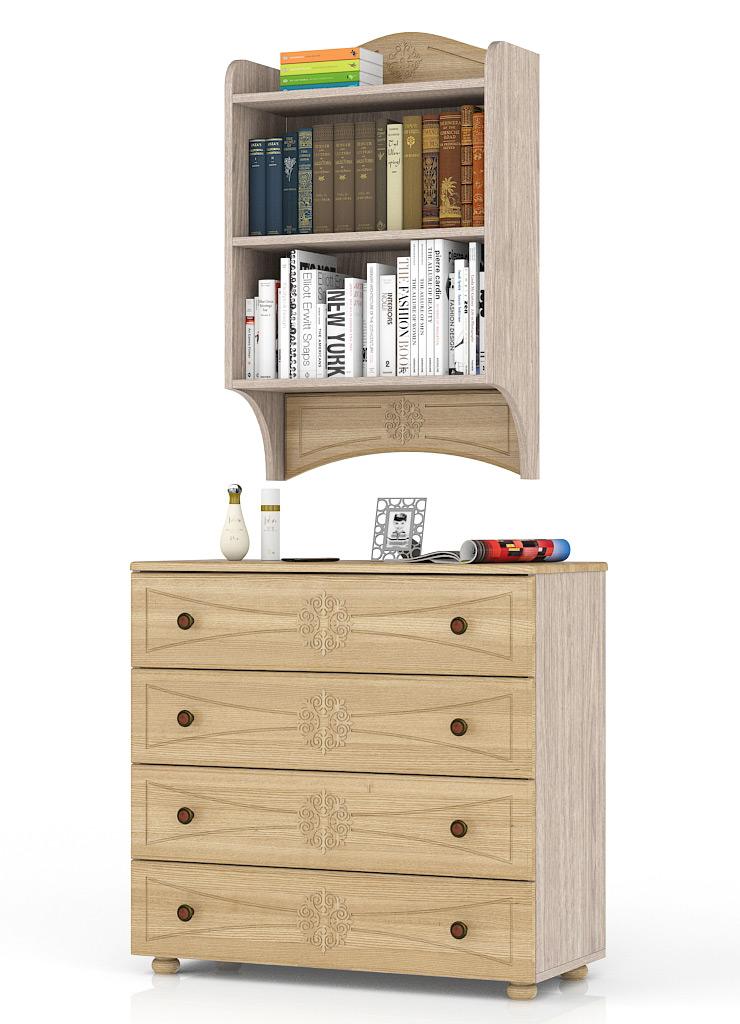 Комод Мебельный Двор Онега К-15+ПК-1 90х40х190 см, ясень шимо светлый