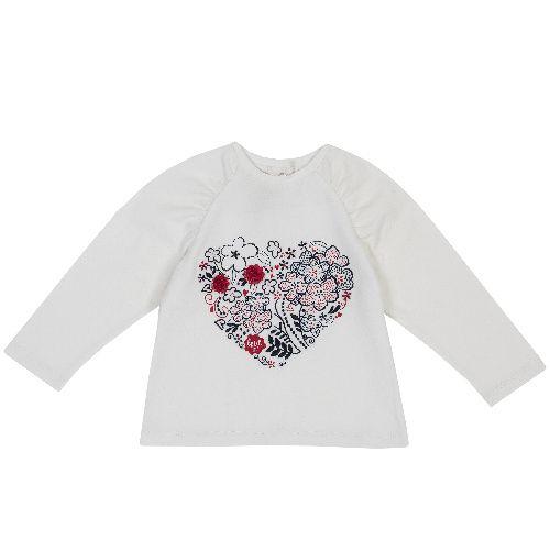 Купить 9006802, Лонгслив Chicco Сердце для девочек р.86 цв.белый, Кофточки, футболки для новорожденных