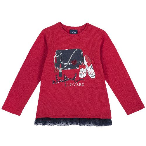 Купить 9006842, Лонгслив Chicco Lovers для девочек р.92 цв.красный, Кофточки, футболки для новорожденных