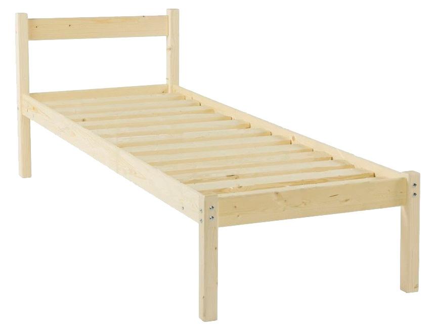 Двуспальная кровать Green Mebel Кровать одноярусная Т1 Натуральный, 1400 Х 2000 мм фото