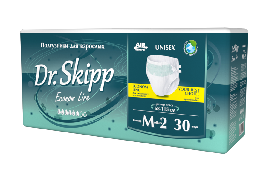 Купить Подгузники для взрослых Dr.Skipp Econom Line размер M-2 68-115 см 30 шт.