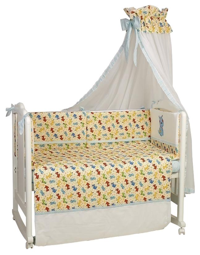 Комплект в кроватку Polini kids Собачки бирюзовый, 7 предметов, 120х60