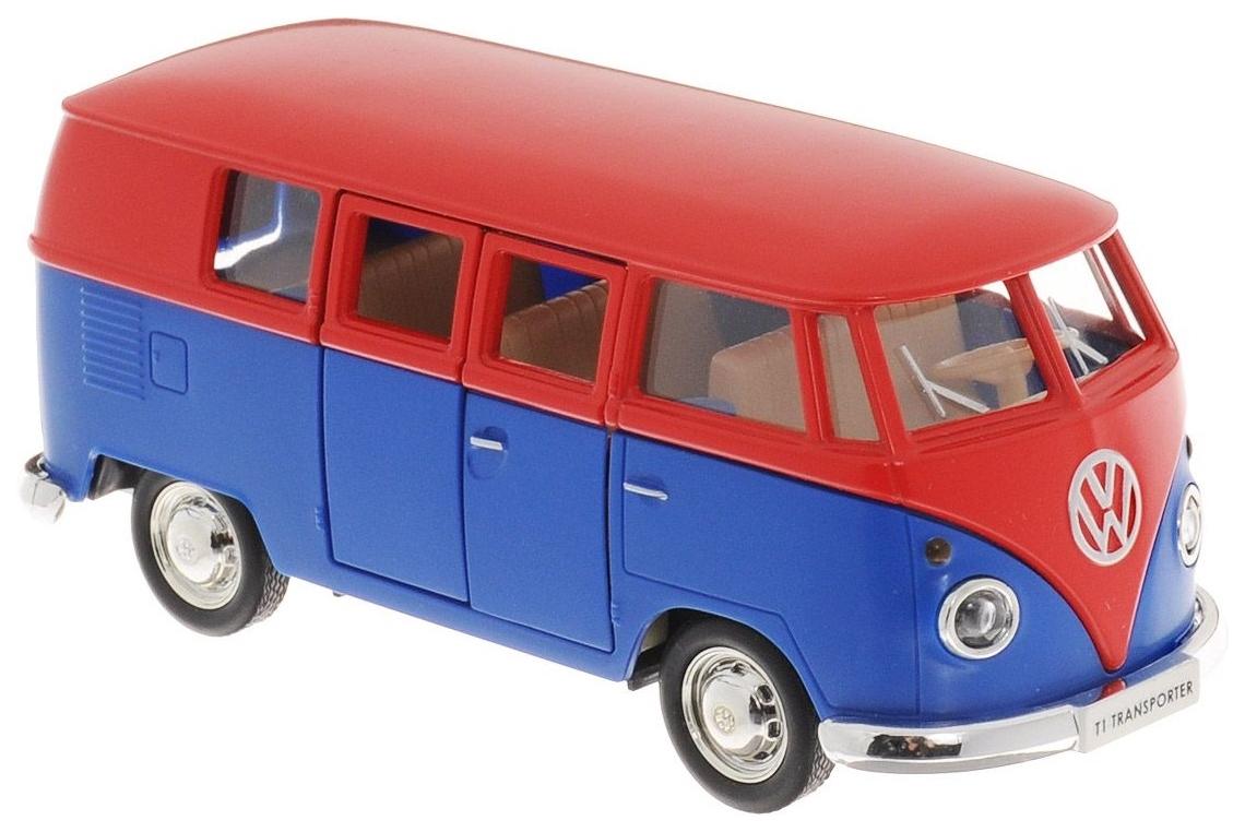 Купить Автобус металлический Rmz City Volkswagen Type 2 Transporter красный/синий 1:32, Городской транспорт