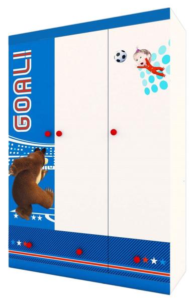 Купить Детский шкаф трехсекционный Polini kids Маша и Медведь Fun 1360 Синий, Шкафы в детскую комнату