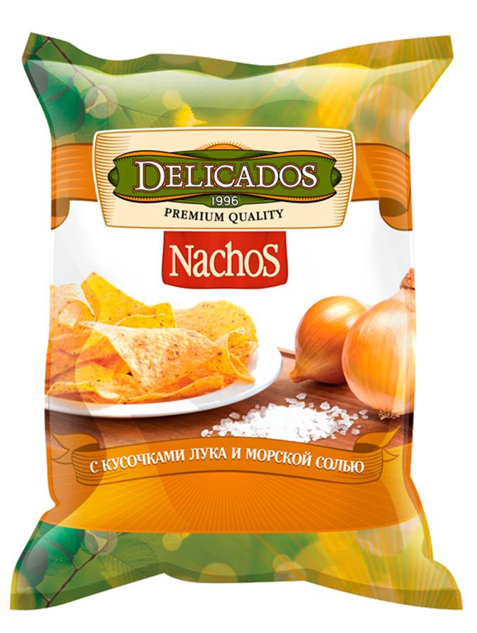 Чипсы кукурузные Delicados nachos с жареным луком и морской солью 75 г