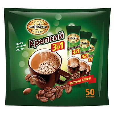 Кофе Московская кофейня на паях крепкий 3в1 растворимый 50 пакетиков фото