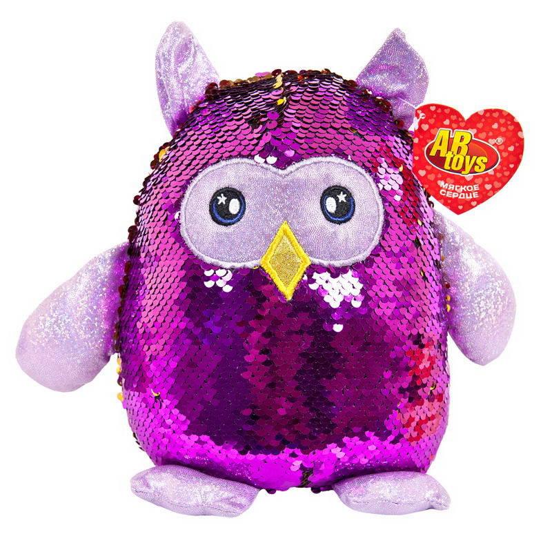 Купить ABtoys Мягкая игрушка Сова с пайетками, 20 см, Мягкие игрушки птицы