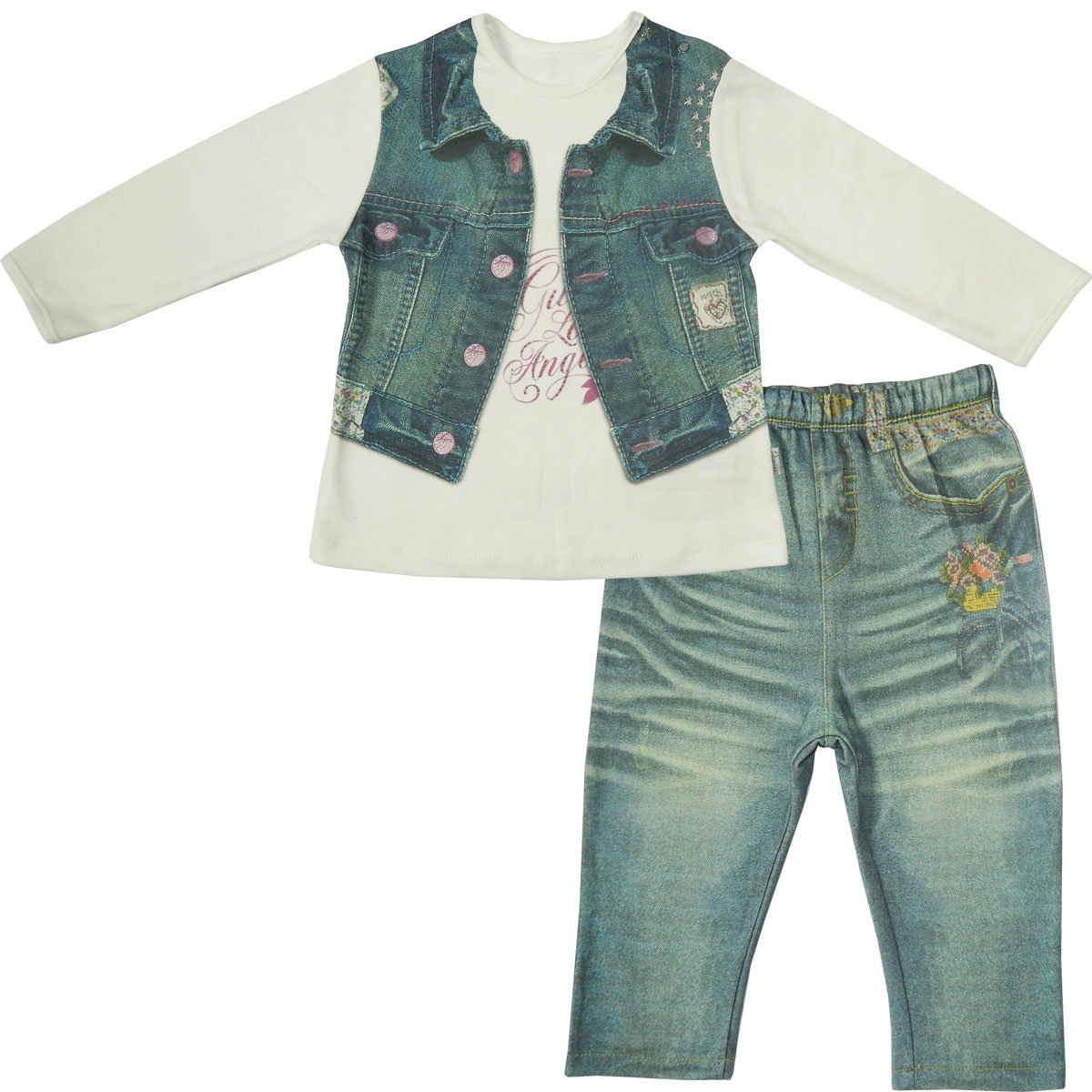 Комплект одежды Папитто для девочки Fashion Jeans 593-05 белый/синий р.26-92