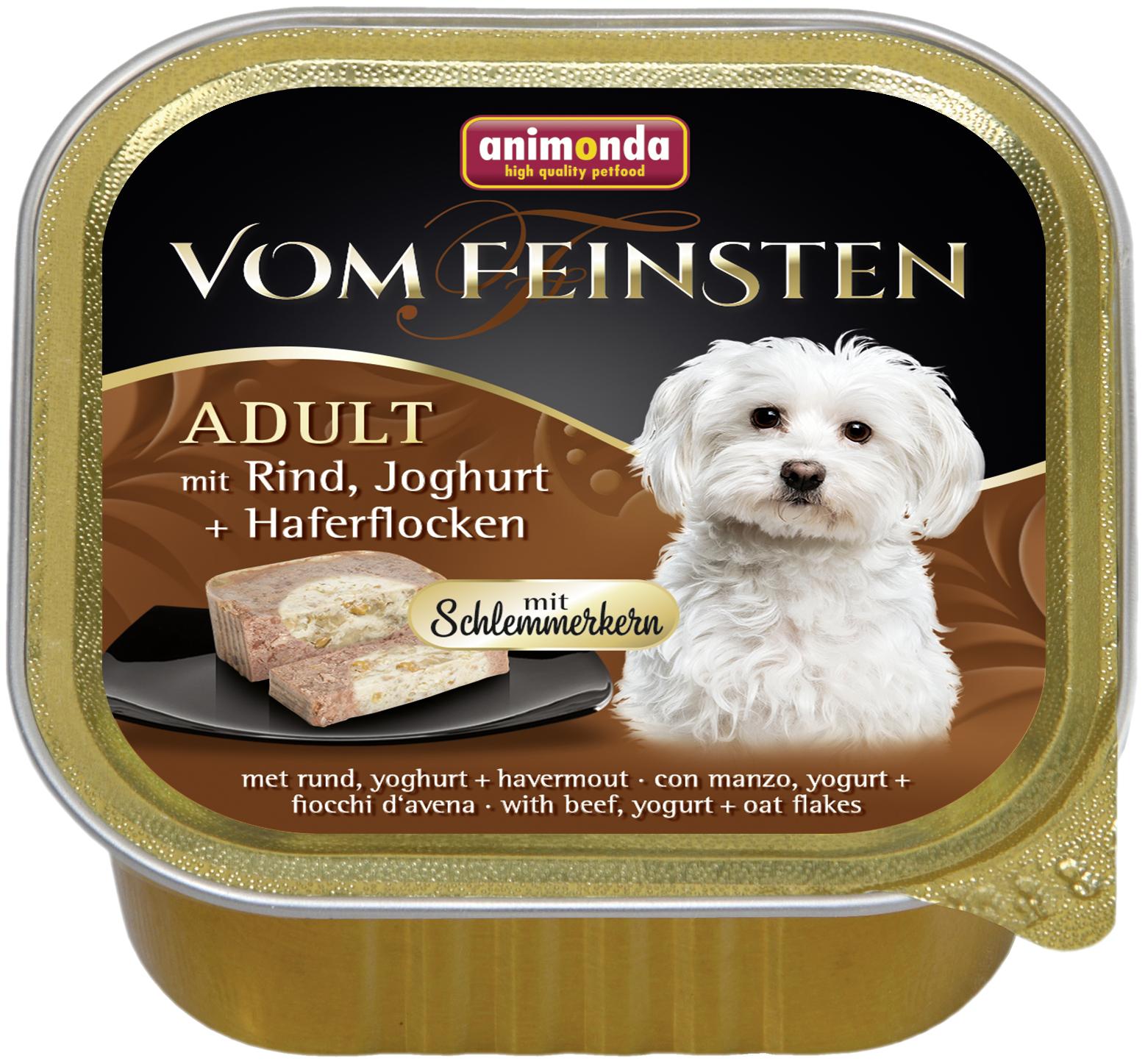 Консервы для собак Animonda Vom Feinsten Adult, говядина, йогурт, овсянка, 22шт, 150г фото