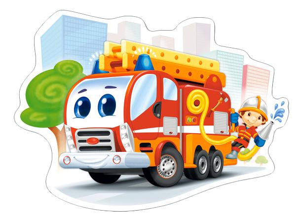 Купить Пожарная машина, Castorland Пазл Кастор 12 maxi пожарная машина В-120109, 12 элементов, Пазлы