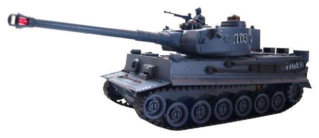 Радиоуправляемый танк Пламенный мотор Tiger свет звук 1:28