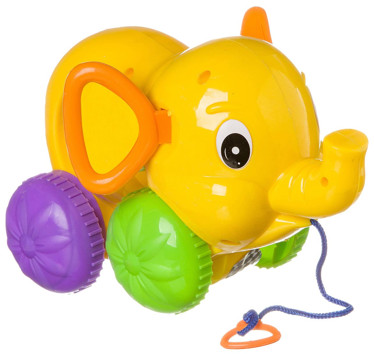 Купить Малая, Каталка детская Gratwest Слон на веревке 23×7, 5×15 см В87016, Каталки детские