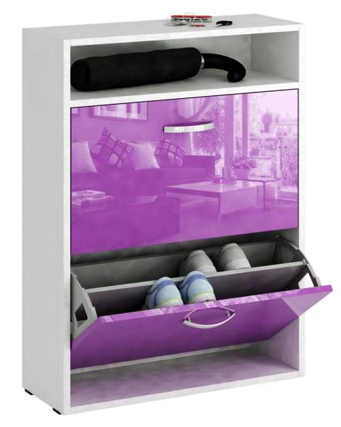 Обувница MFMaster Милан-25 МСТ-ОДМ-25 60х22,2х88,2 см, белый/фиолетовый глянец