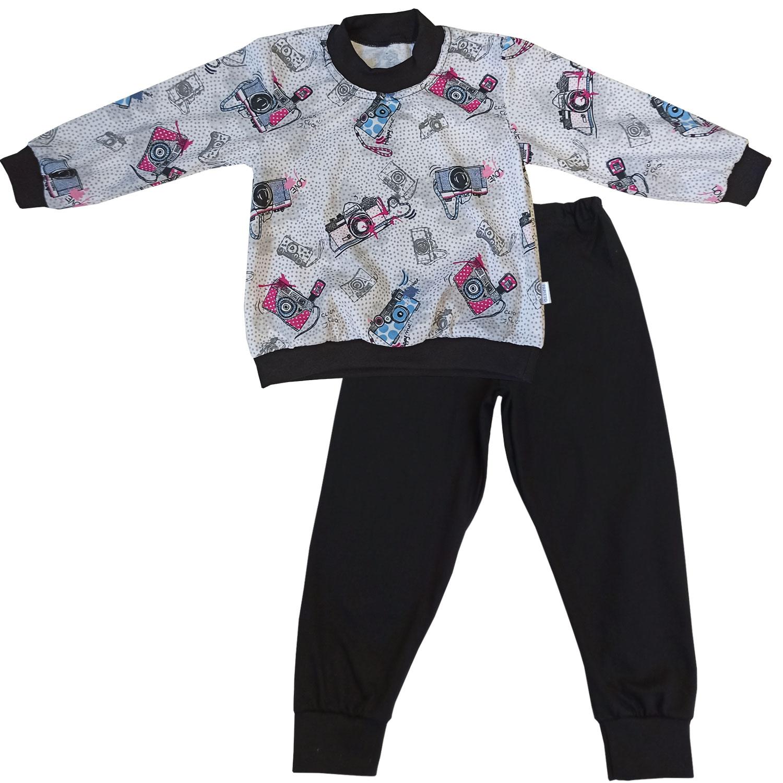 Купить 15872-02, Пижама детская Папитто, цв. серый; черный р.122,