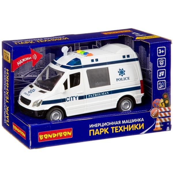 Купить Инерционная машинка Bondibon «ПАРК ТЕХНИКИ», полицейский фургон, свет, зву,