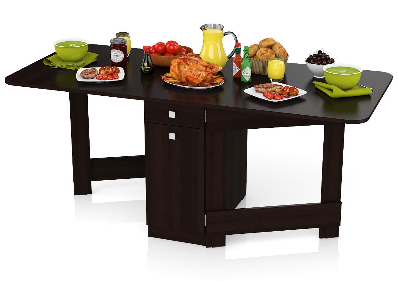 Стол-книжка обеденный Мебельный Двор СО-05 венге 180х80х75 см., сложенный 41х80х75 см. фото