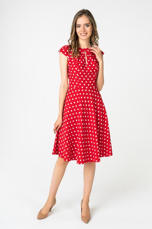 Красное Платье В Горох Купить