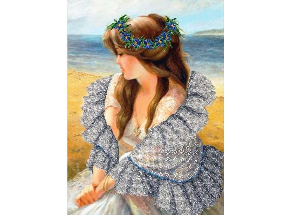 Набор вышивки бисером Паутинка В ажурной шали фото