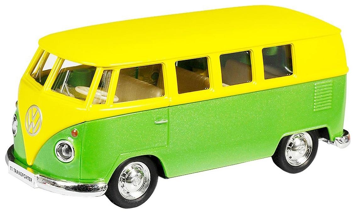 Купить Автобус металлический Rmz City Volkswagen Type2 Transporter желтый/зеленый 1:32, Городской транспорт