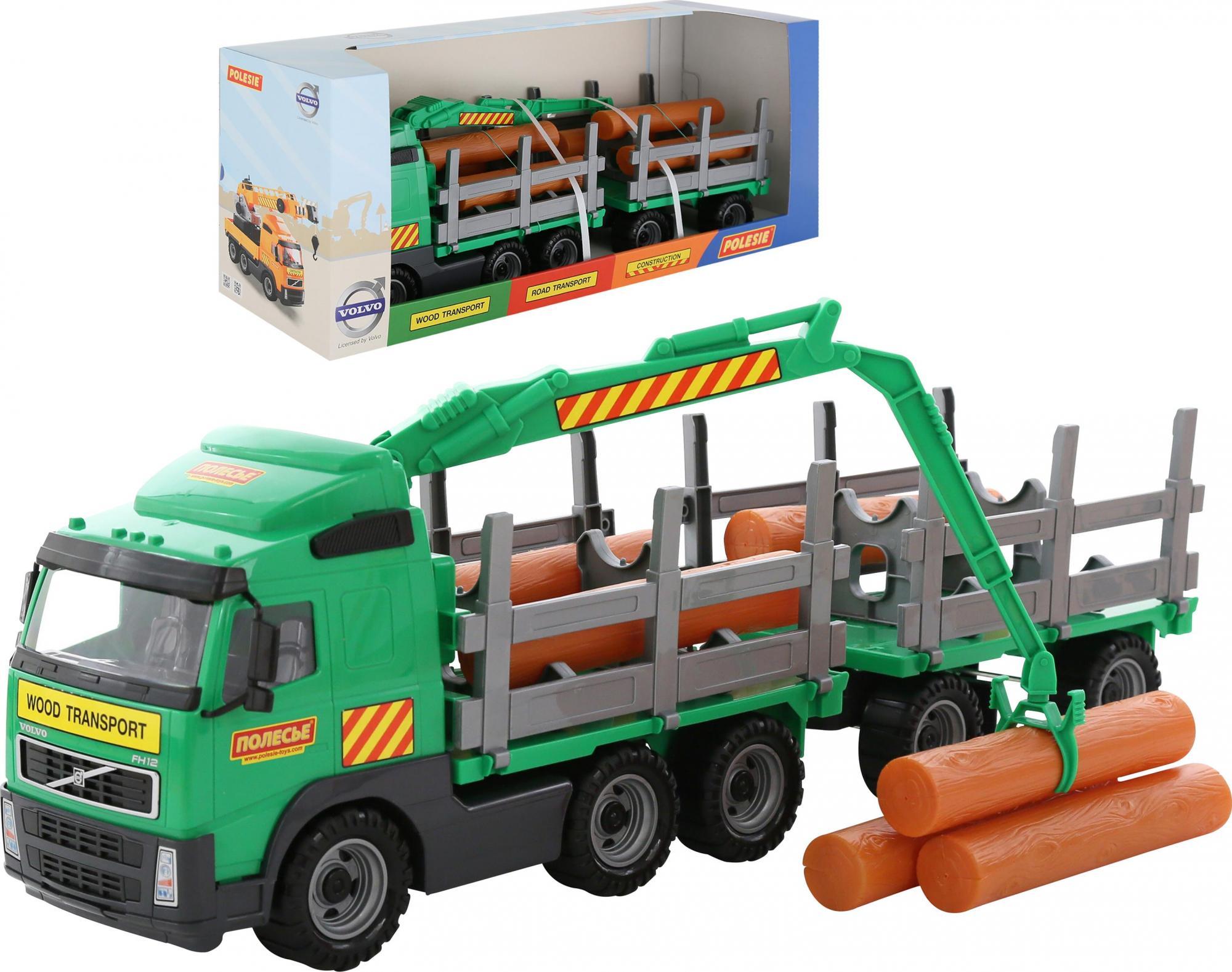 Купить Автомобиль-лесовоз с прицепом в коробке Volvo 9500_PLS, Полесье,