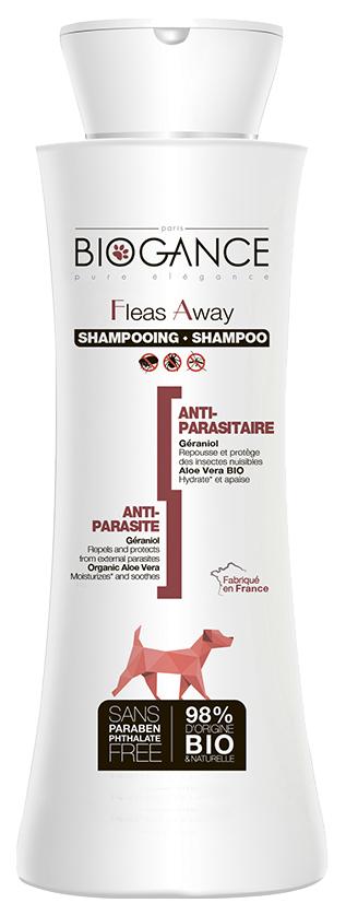 Шампунь для собак BIOGANCE Fleas Away антипаразитарный, эфирное масло герани, 250 мл