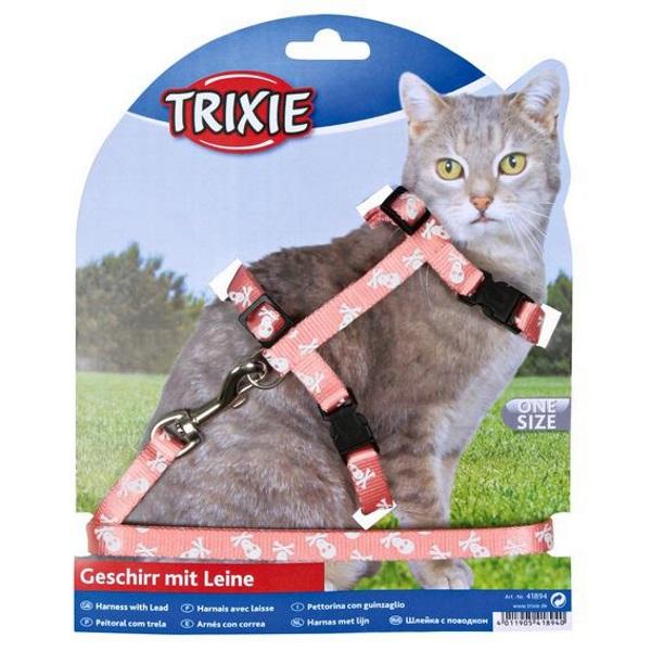 Шлейка+поводок для кошки TRIXIE Черепа и кости