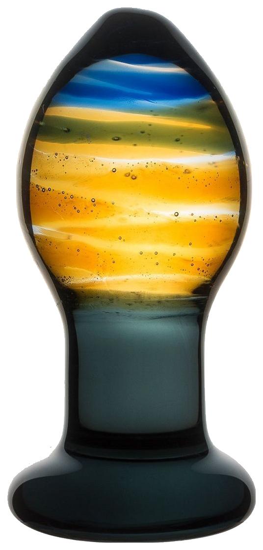 Красивая стеклянная пробка с цветными разводами 9 см фото