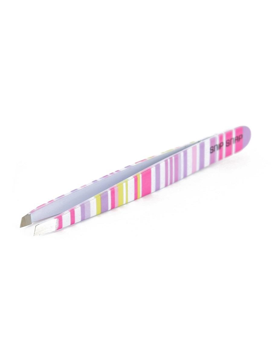 Пинцет Snip snap розовая полоска, скошенный MI 5257